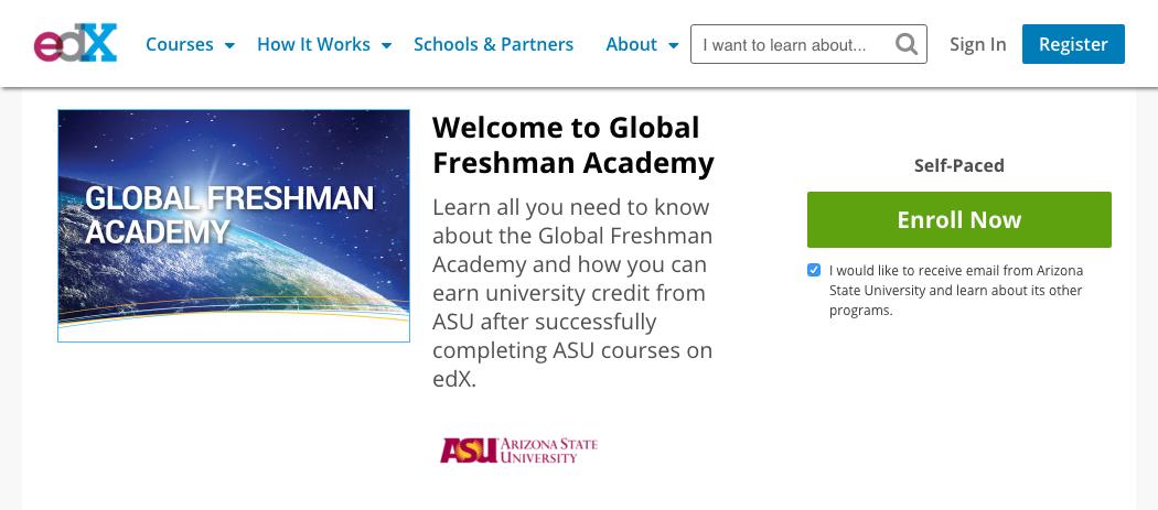 online freshman college courses at ASU